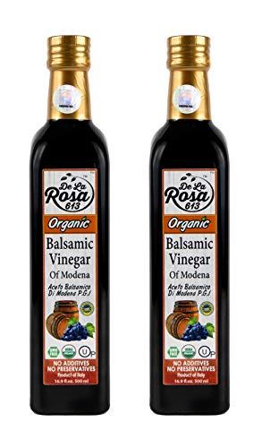 ORGANIC Italian Balsamic Vinegar of Modena (2-Pack) - De La Rosa 16.9oz Glass Bottles - Barrel Aged in Oak, Cherry & Chestnut | Vegan, Gluten-Free & Kosher | Great for salads, dressing and more!