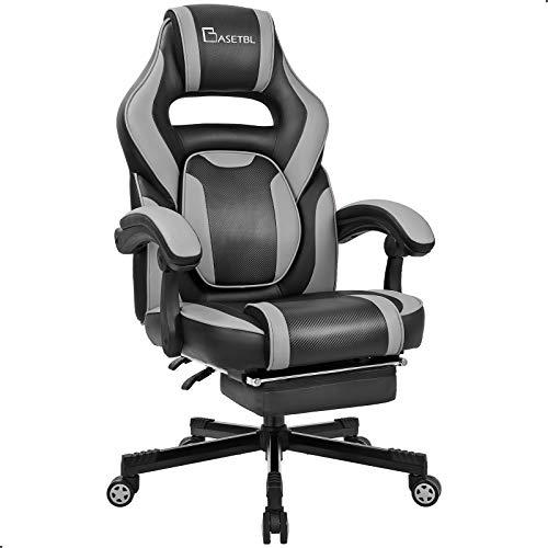 BASETBL Gaming Stuhl mit Fußstütze PC Racing Stuhl Gaming Sessel Gaming Chair Ergonomischer Spielstuhl verstellbare Lordosenstütze, 90°-135° Neigungswinkel Drehstuhl bis 150kg belastbar