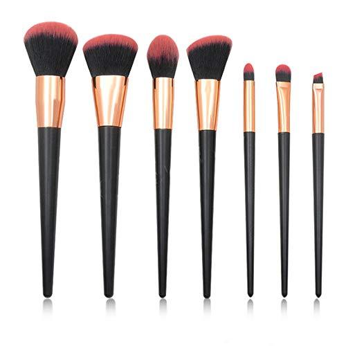 7 Brosse De Maquillage De Poignée Noire Et Rose Ensembles Outils De Maquillage De Brosse D'Oeil 18Cm Black Handle - Cheveux Noirs Roses