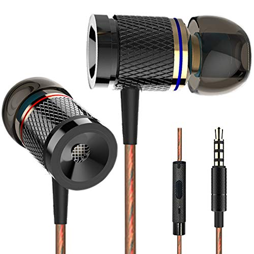 Earphones, Earbuds,Pasuwisma High Definition, in-Ear Headphones Noise Isolating, Heavy Deep Bass Compatible with iPhone, iPod, iPad, MP3 Players, Samsung Galaxy, Nokia, HTC, etc (Gold&Black)