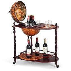 top rated Goplus 34 ″ Wood Globe Wine Bar Stand 16th Century Italian Shelf, Larger Shelf for More Bottles 2021