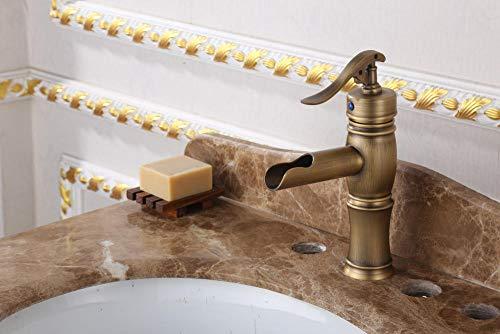 VZJSLT Moderne waterkraan, retro-waterkraan, messing, antieke waterkraan, retro, waterfontein, eengatmontage, wastafel, waterkraan, bovenkant, opzetwastafel, koude waterkraan