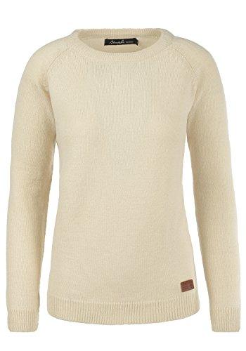 BlendShe Nele Damen Strickpullover Feinstrick Pullover Mit Rundhals Und Melierung, Größe:L, Farbe:Bone White (70016)