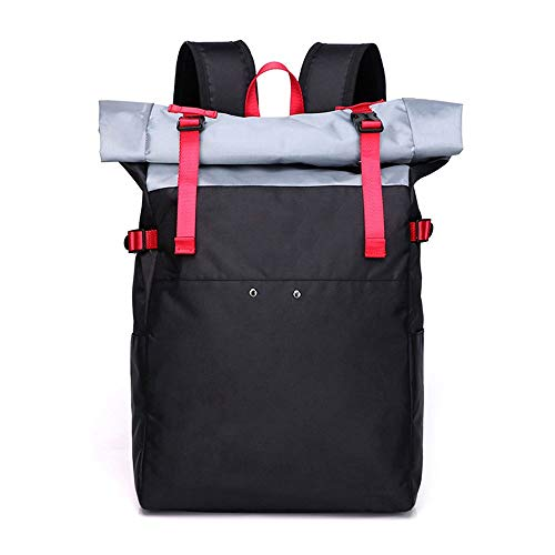 XinMeiMaoYi Mochila de nailon simple para exteriores, gran capacidad, mochila de moda, casual, mochila para estudiantes (28 x 13 x 44 cm) (color: negro)