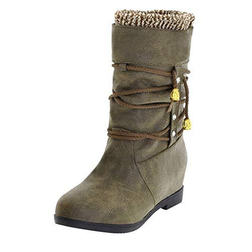 BIBOKAOKE Stiefeletten für Damen Einfach Casual Vintage Groß Stiefel Warmhalten Erhöhter Keil Party Schuhe Winterstiefel Schneestiefel Reitstiefel Reitsportschuhe