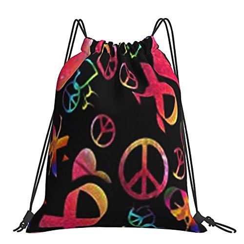 Bolsa de gimnasio Peace Love Gimnasia Conciencia sobre el cáncer de mama Mochila con cordón brillante Bolsas deportivas Bolsa de playa Bolsa de playa para yoga Gimnasio Natación Viajes Playa