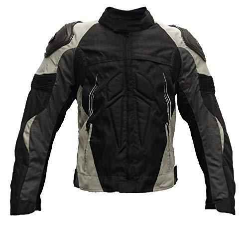 SM Sport Chaqueta de Moto para Hombre Textil para Invierno y Verano con Protecciones en Espalda y Codos, Forro Extraíble Lavable con Bolsillos con Joroba (XL, Gris)