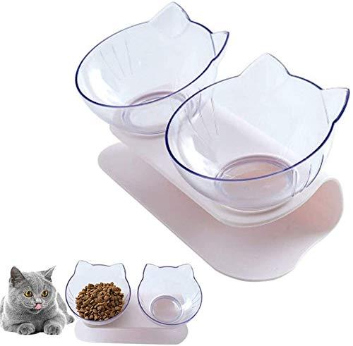 Katzen Futternapf, Doppelte Katzennäpfe mit erhöhtem Ständer, 15 ° geneigte Plattform Haustier Fressnapf und Wassernapf im Set, Doppelnapf Reduzieren Sie Nackenschmerzen für Katzen und Hunde (Weiß)