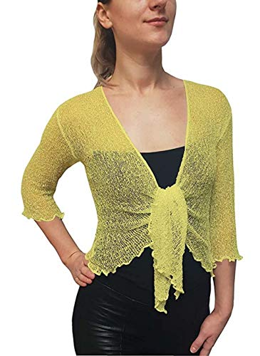 Coprispalle bolero da donna in maglia traforata, ampia vestibilità, lavorato a maglia Lemon Taglia unica