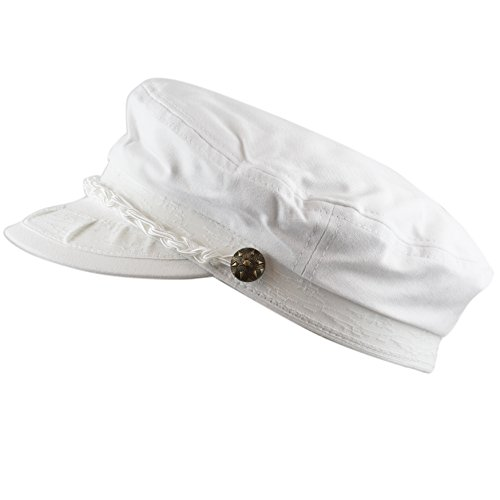 The Hat Depot Cotton Yachting Style Sailing Greek Fisherman Cap hat (L/XL, White)