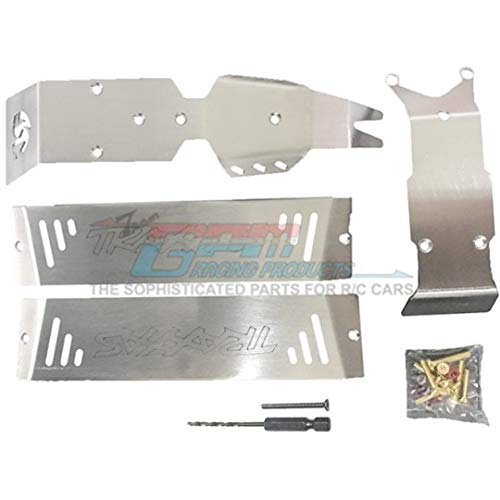 GPM for Traxxas E-Revo 2.0 VXL Brushless (86086-4) Upgrade Parts Stainless Steel Skid Plates for Front, Center, Rear Chassis - 24Pc Set