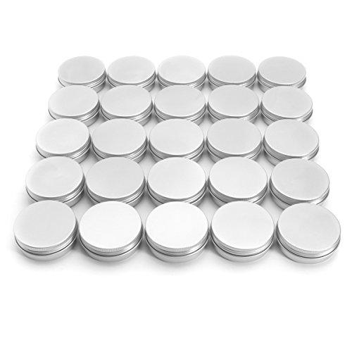 MASUNN 24 Boîtes en Aluminium Rondes en Acier 2 Oz Vis Couvercle Supérieur Rangement Barbe Baume À Lèvres Vide Peut