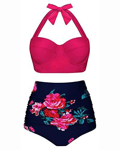 YDD Frauen Vintage Zweiteilige Badeanzüge hoch taillierte Badeanzüge mit Bügel zu Bikini-Sets Strand Badebekleidung Badeanzug,3~Rose,L