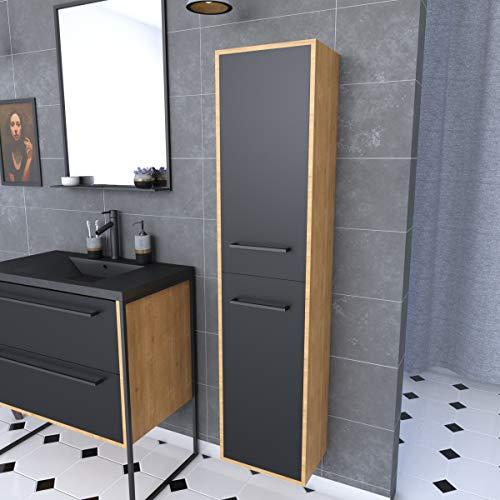 Aurlane PACM092 - Columna de baño, color negro y roble marrón