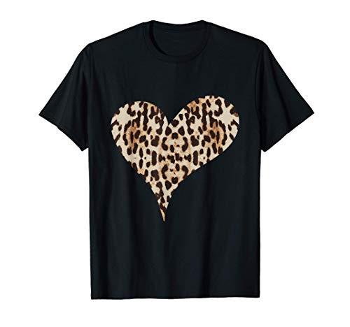 Gepard Leopard Druck Herz Liebe T-Shirt