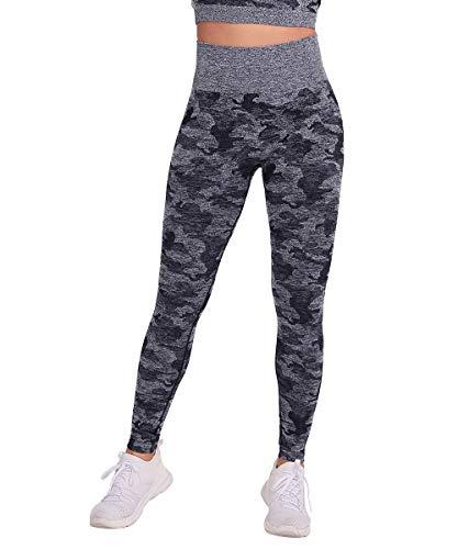 Yaavii Pantalones de Yoga de Camuflaje de Cintura Alta para Mujeres Gimnasio Deportivo Elástico Running Entrenamiento Abdomen Caderas Leggings Nergo S