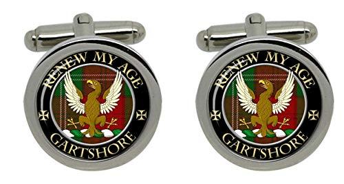 Gartshore Clan écossais pour homme Écusson Chrome Boutons de manchette avec coffret cadeau