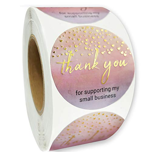 Modern 5th - Thank You for Supporting My Small Business Sticker Labels (1.5' Round - 400 Label Per Roll), Perfect for Online, Retail Store, Handmade Goods, Bakery, Small Business Owner and More