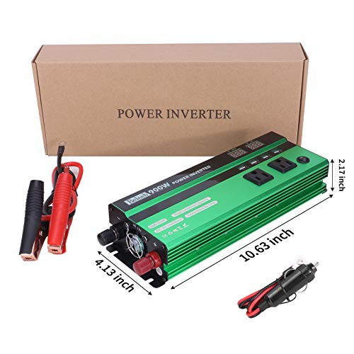 Power Inverter 900W DC 12 Volt to AC 110V Peak 1800 Watt Digital Converter with LED Display,2 AC Outlets, 2.4A Fast Charge USB Port Car Adapter for Smart Phone,Laptop,Vehicle,Camera in Camp, Emergency