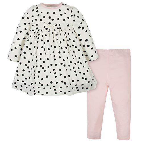 Gerber Conjunto de Vestido y Leggings para bebé, Blanco (White Polka Dots), 3-6 Meses