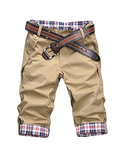 Bestgift Herren Cargo-Short Shorts Vintag Kurze Hose Kariert Knielang Khaki XXXL