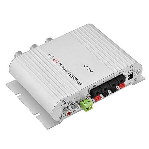 ZXIANGK - Amplificador Digital Mini de Audio 2.1 Canales para Altavoz subwoofer, MP3, iPad, iPhone, Coche, Barco Marino, Sistema PA Plateado