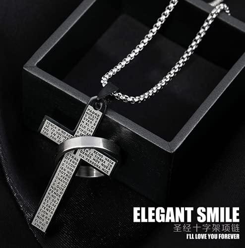 Collar de Cruz de acero de titanio para hombres y mujeres