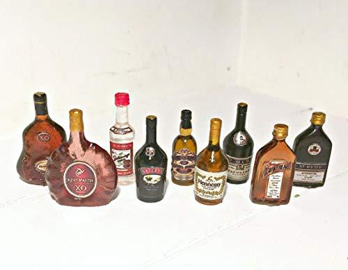Alcohol, whiskey, brandy, cognac, liqueur. Dollhouse miniature 1:12