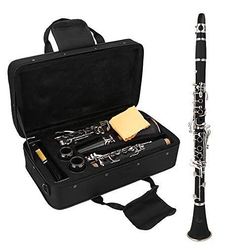 Dilwe Clarinete SIB, 17 Teclas Clarinete Baquelita Tono B Descendente con Lengüetas Bolsa de Paño de Limpieza Instrumentos de Viento de Madera