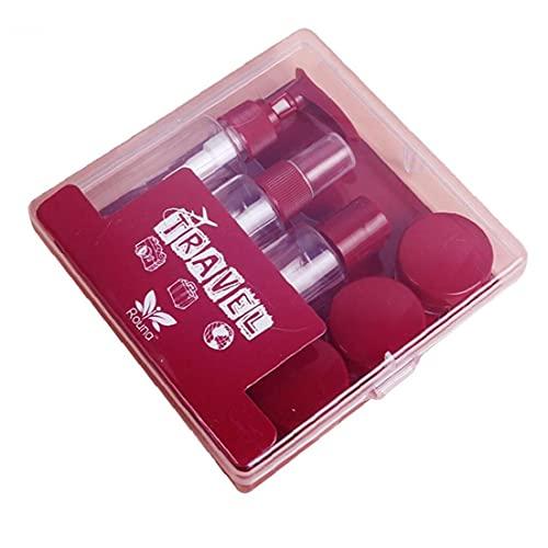 BRAVOLUNE Botellas de Viaje Conjunto Pequeña Botella vacía de la Muestra del Aerosol Jar Claro Recipiente con Tapa para Cubiertas de Crema loción cosmética 8pcs Rojo