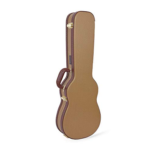 Crossrock Hardshell Vintage Tweed, 5-String Deluxe Wood Hard Case for Baritone Ukulele, Vinyl, Wooden (CRW600BUTW)
