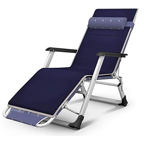 Fswallow Sun Lounger Chair Reclining Sun Lounger, Heavy Duty Zero Gravity Garden Chair Recliner Outdoor Patio Beach Deck Support200kg Silver without pad