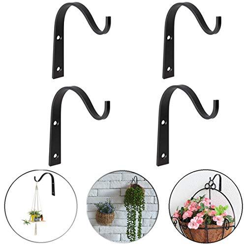QISF 4Pcs Hanging Basket Bracket Wrought Iron Wall Hooks Hanging Basket Hooks Hanger for Planter Lantern Basket