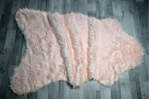 Fabelia Flokati-Stil Hochflor Shaggy Teppich Ameiny Colours - Faux Lammfell - Luxus Langflor Kunstfell (90 cm x 150 cm Eisbär, Rosa)