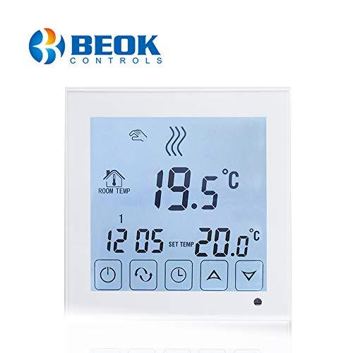 Beok BOT-323W.WH Wired Gas Boiler raumthermostat Programmierbare LCD Gas Kessel Raum thermostat Smart Temperature Controller Kontrolle, AA Batterie Betrieben, Weiß Hintergrundbeleuchtung, 1.5V