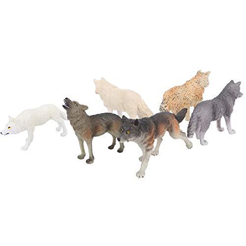 Figuras de lobo decorativas, juguete de figura de lobo de escritorio de vida silvestre, para la colección de adultos de educación preescolar(Six wolves suit)