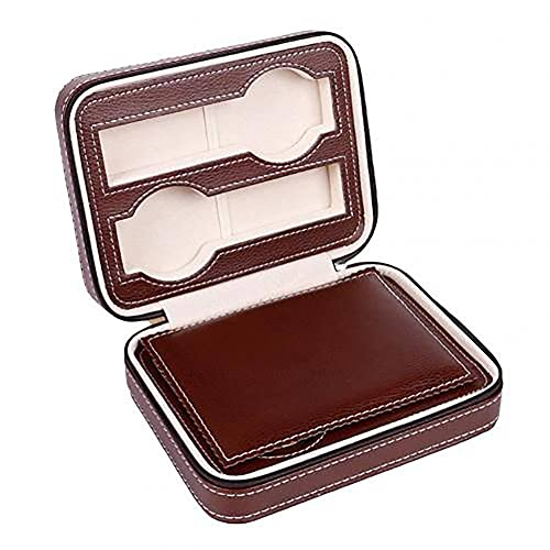 Caja de almacenamiento de reloj de cuero para hombre, gabinete de visualización de reloj para hombre, apto para todos los relojes y relojes inteligentes, cajas, marrón, estándar