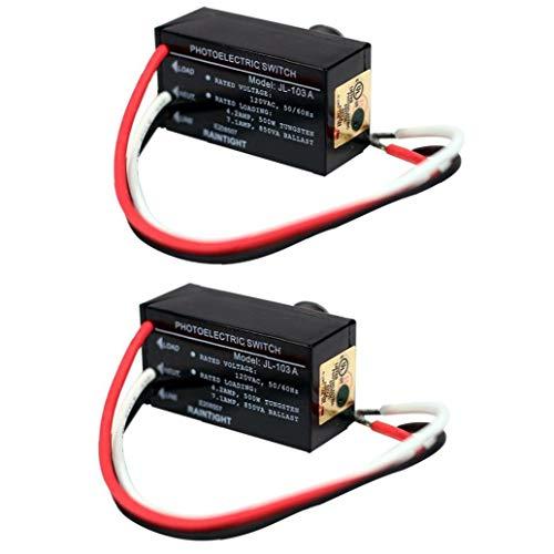 nJiaMe Interruptor de fotocélula de Control de luz JL-103A Mini automático con Sensor de Amanecer de la Oscuridad por la Noche al Aire Libre de iluminación 2 Piezas de Alta precisión