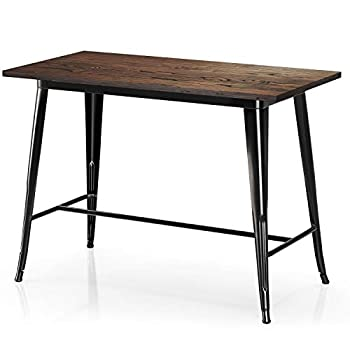 VIPEK Counter Height Dining Table Bar Table with Solid Wood Top Heavy Duty Rectangle 35.43 Inch High Bistro Patio for Farmhouse Restaurant Coffee Kitchen Table Rustic Industrial Style Gloss Black