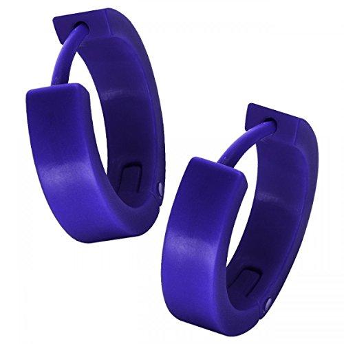 Soul-Cats® 1 Paar Creolen Ohrringe aus Kunststoff, Farbe: blau, Größe: Ø 15mm / 4mm breit