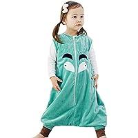 Happy Cherry - Niños Niñas Mono Saco de Dormir Dibujo Animado Algodón Infantil Pijama de Franela Cremallera para Bebé - Azul - M (2-4 años)