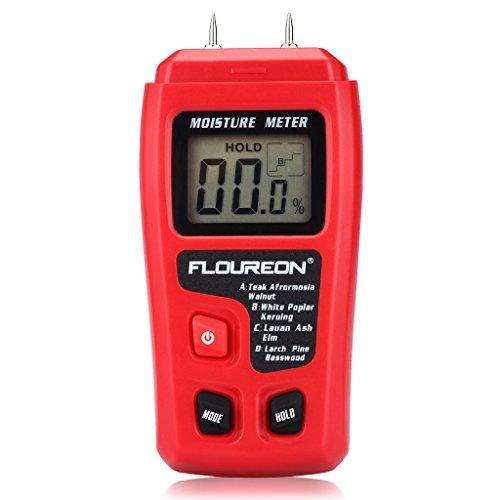 Humidimètre , Floureon LCD Détecteur d'humidité Numérique Portable, Précision de ± 0,5%, Plage 0,0% - 99,9%, Pointes Testeur d'Humidité pour le Bois, le Bambou et le Bois de Chauffage