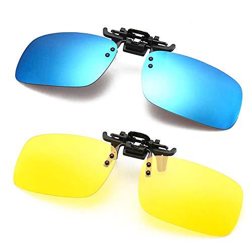 Polarized Clip-on Sunglasses Anti-Glare Flip Up Clip On Night Driving Glasses for Prescription Glasses (Blue + Night Vision Lens)