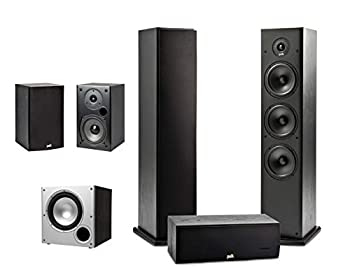 Polk Audio 5.1 Channel Home Theater System with Powered Subwoofer  Two  2  T15 Bookshelf One  1  T30 Center Channel Two  2  T50 Tower Speakers PSW10 Sub   Alexa + HEOS