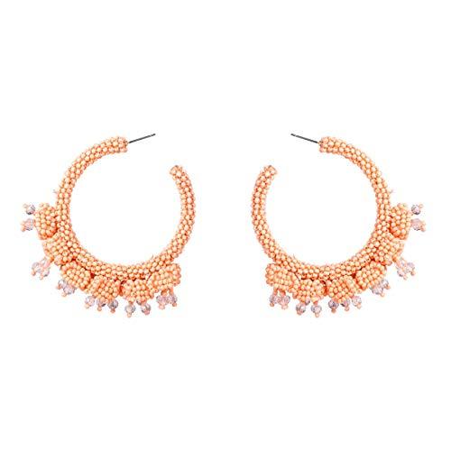 Pendientes colgantes Pendientes de perlas de arroz geométricas europeas y americanas pendientes de perlas de arroz de temperamento retro exagerado pendientes de joyería bohemia con pendientes de mujer
