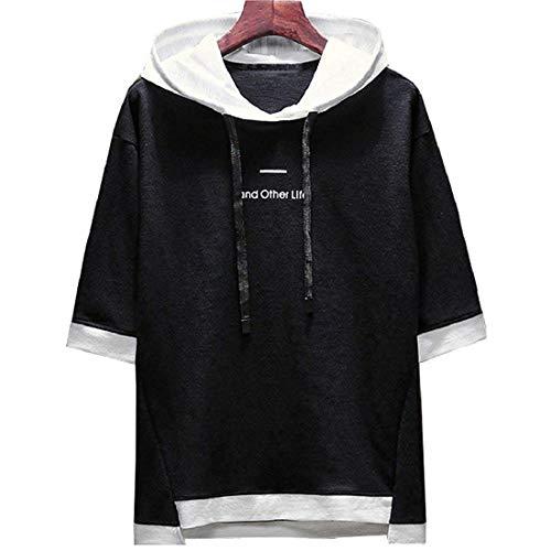 XIAOYAO T-Shirt Uomo, t-Shirt con Cappuccio (Nero, M (Peso 45-50 kg-Altezza 160-165 cm))