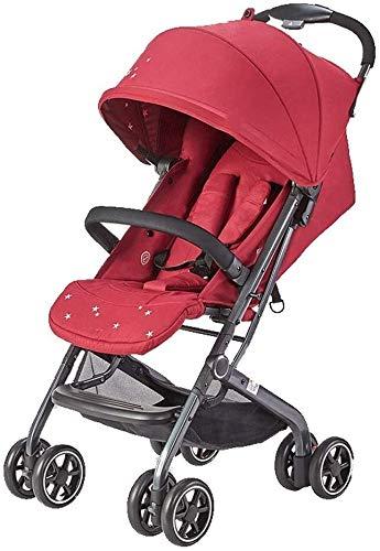 TGFVGHB Cochecito de bebé for recién Nacido, Cochecito Cochecito Amortiguador Paraguas Ligero y con una Sola Mano Plegable cómoda Sala de Estar, 5 (Color : Red1)