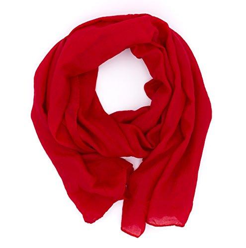 DOLCE ABBRACCIO by RiemTEX WILD CAT Damen Schal Halstuch Tuch aus Chiffon für Frühling Sommer Ganzjährig (Rot)