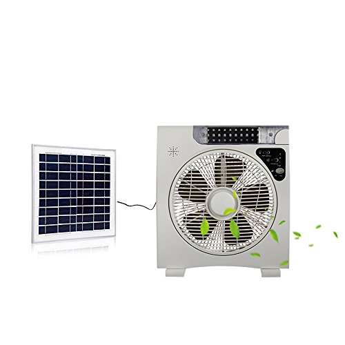Solar fan Table Fan Auto Cool Solar Powered Fan System Desk fan(12inch Fan blade) with 15W Solar Panel,Assembly-free and Electric-free Easy for Outdoor,Household or Camping
