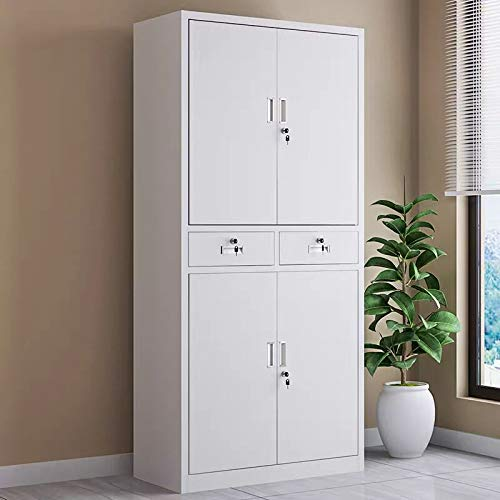Office Storage cupboard with 4 Tier and 2 drawer, Anti-Rust Metal filing cabinet lockable Shelving Unit with 4 Door, include 2 Spare Keys of each door